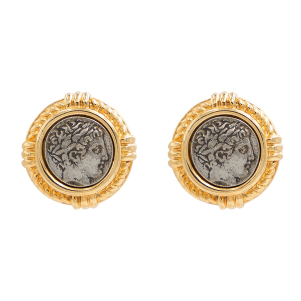 Roman Coin Button Earrings - Ben-Amun