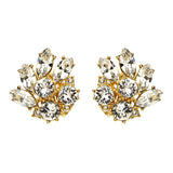 Crystal Floral Gold Clip Earrings - Ben-Amun