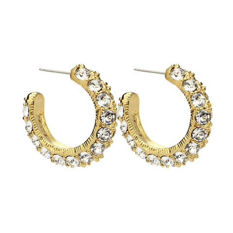 Crystal Hoop Gold Earrings - Ben-Amun
