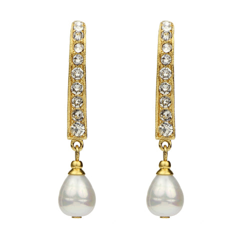 Crystal Linear Pearl Drop Gold Earrings - Ben-Amun