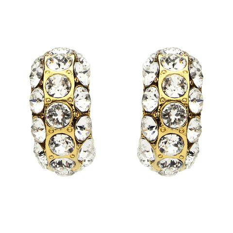Crystal Row Gold Hoop Earrings - Ben-Amun