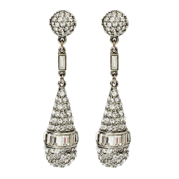 Crystal Deco Oval Drop Post Earrings - Ben-Amun