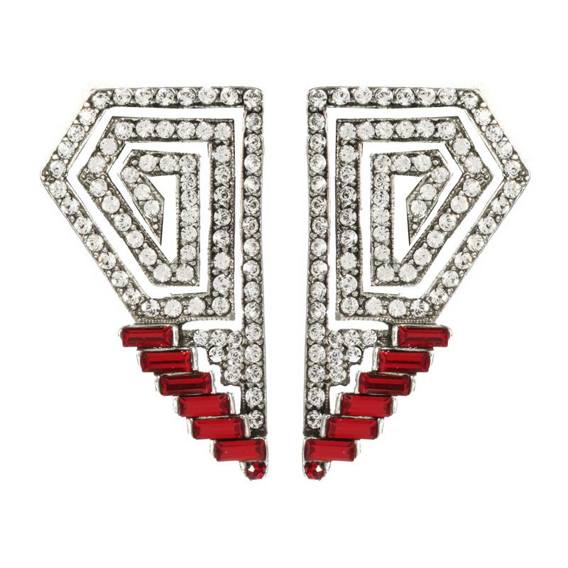 Ruby Deco Geo Crystal Earrings - Ben-Amun