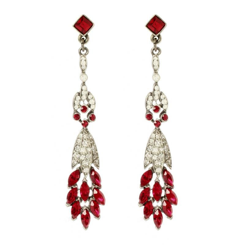 Ruby Deco Peacock Crystal Earrings - Ben-Amun