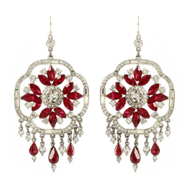 Ruby Deco Chandelier Crystal Earrings - Ben-Amun