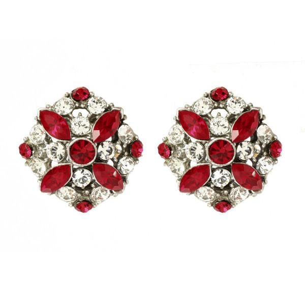 Ruby Deco Crystal Button Earrings - Ben-Amun