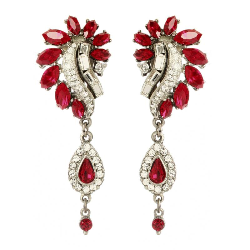 Ruby Deco Peacock Drop Earrings - Ben-Amun
