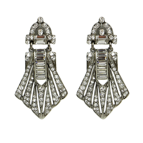 Deco Crystal Post Earrings - Ben-Amun