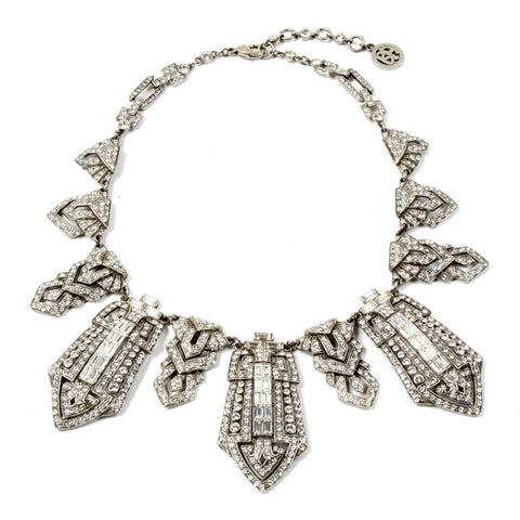 Deco Crystal Tower Collar Necklace