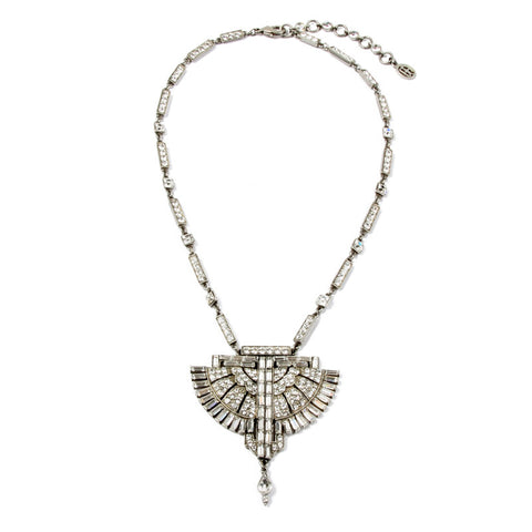 Deco Crystal Fan Pendant Necklace - Ben-Amun