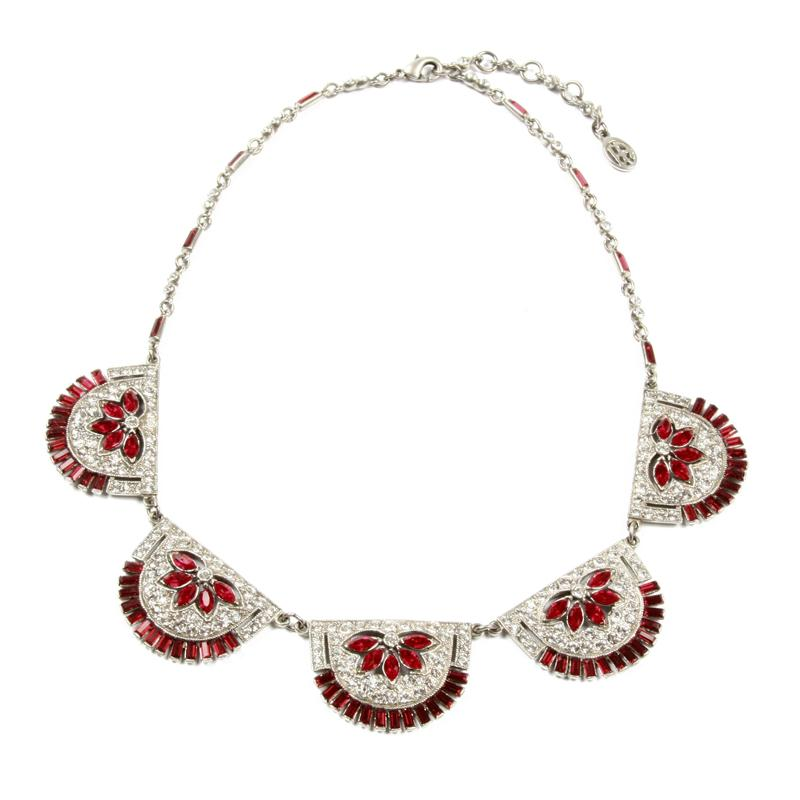 Ruby Deco Fan Crystal Necklace - Ben-Amun