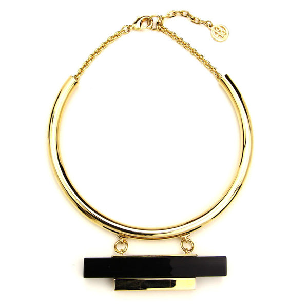 Gold Collar Necklace with Black Resin and Gold Bar - Ben-Amun