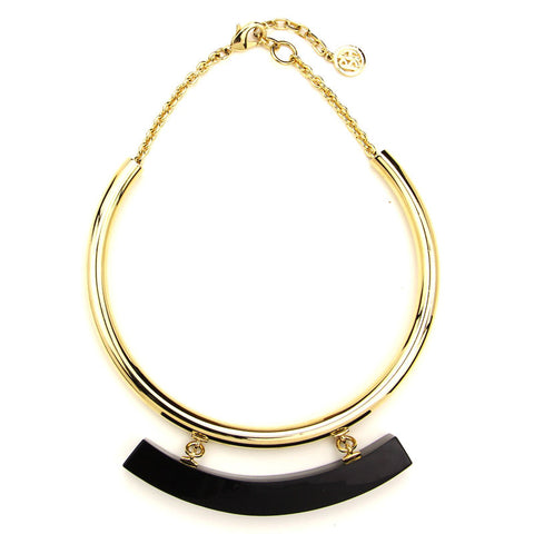 Gold Collar Necklace with Black Resin Bar - Ben-Amun
