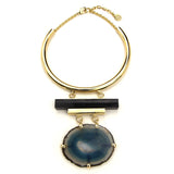 Gold Collar Necklace with Geo Statement Pendant - Ben-Amun