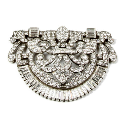 Ornate Crystal Deco Brooch - Ben-Amun