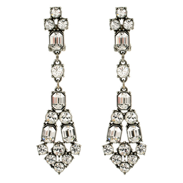 Wedding Drop Earrings. Crystal Deco Long Post Earrings by Ben-Amun. Timeless Bridal Accessories. Swarovski.