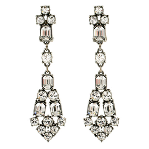 Crystal Deco Long Post Earrings - Ben-Amun