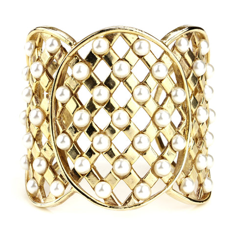 Lattice Pearls Cuff - Ben-Amun