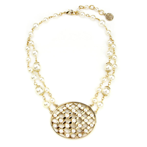 Lattice Pearls Oval Necklace - Ben-Amun