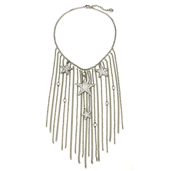 Rock Star Crystal Tassel Chain Necklace