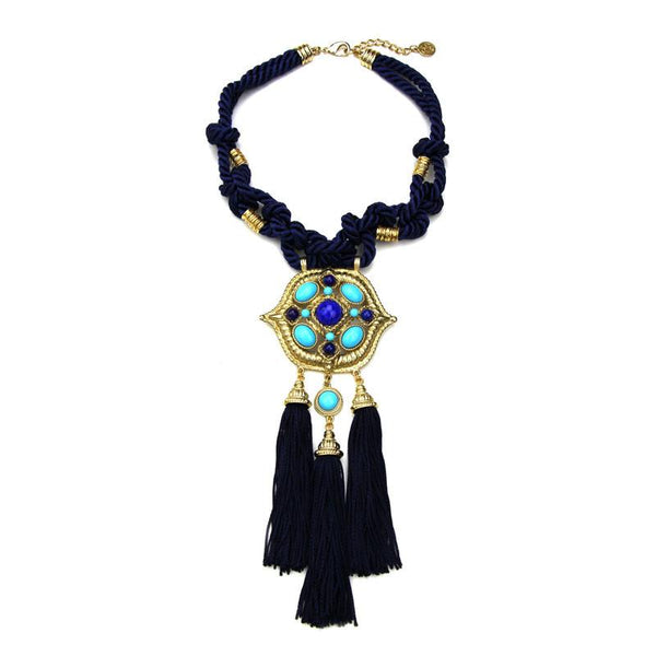 St. Tropez Statement Cord Collar With Tassels - Ben-Amun