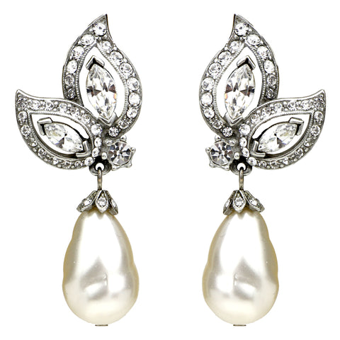 Crystal Teardrop Clip Earrings with Pearl Drop - Ben-Amun