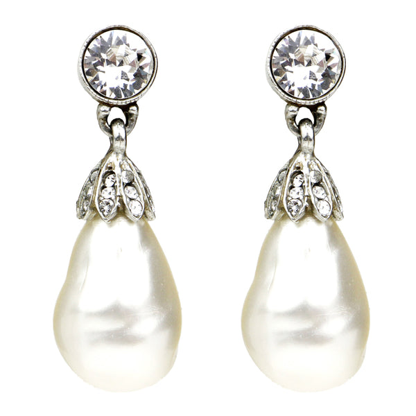 . Ben-Amun Jewelry | Elegance Crystal Deco Post Earrings | Pearl Earrings with Crystals | Elegant Pearl Drop Earrings | Earrings for Special Occasion | Wedding Earrings with Pearls | Bridal Earrings Swarovski Crystals | What Jewelry to Wear with Evening Gown | Jewelry to Wear to a Wedding | Handmade Jewelry