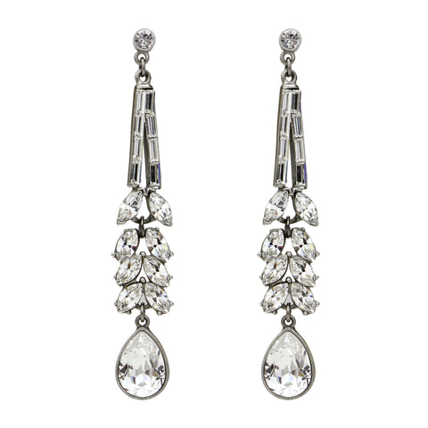 Deco Crystal Chandelier Marquise Drop Post Earrings - Ben-Amun