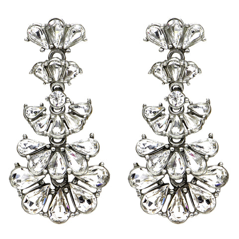 Crystal Fan Marquise Drop Post Earrings - Ben-Amun