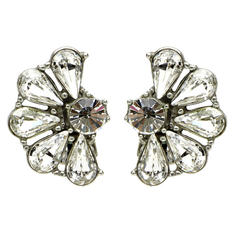 Crystal Half Flower Clip Earrings - Ben-Amun