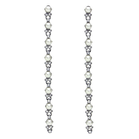 Pearl Crystal Long Earrings - Ben-Amun