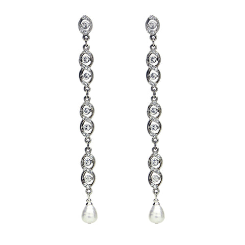 Linear Crystal Pearl Drop Post Earrings - Ben-Amun