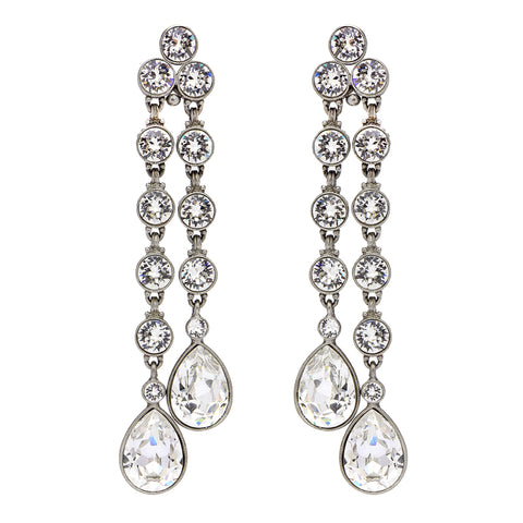 Crystal Two Linear Teardrop Clip Earrings - Ben-Amun