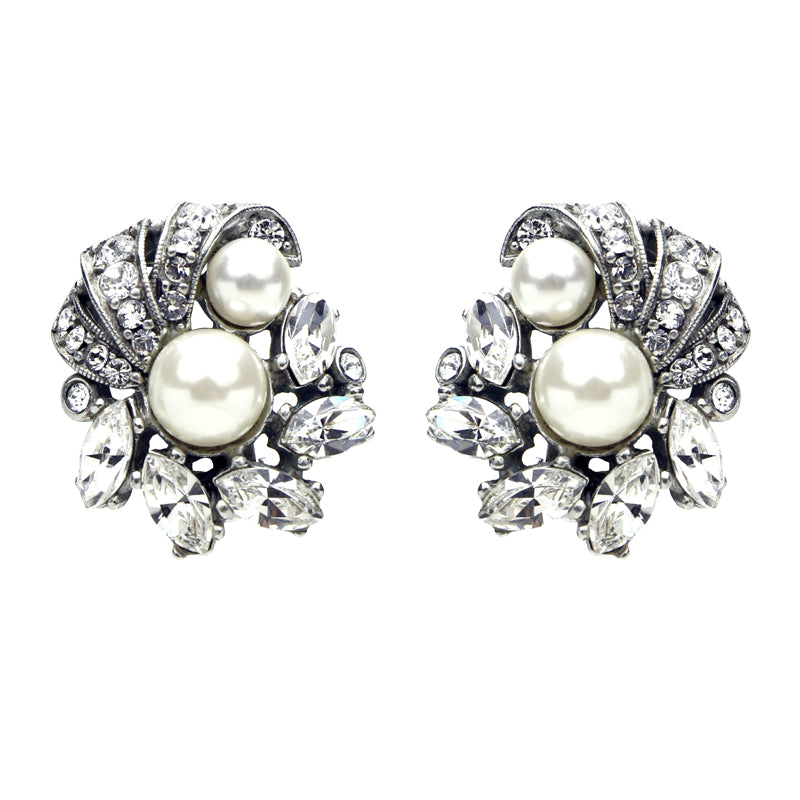 Crystal Pearl Cluster Clip Earrings - Ben-Amun