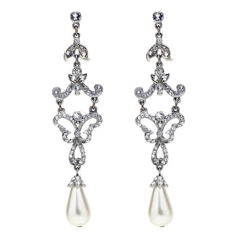 Crystal Belle Pearl Drop Post Earrings | Crystal Earrings | Pearl Earrings | Bridal Earrings | Wedding Earrings | Ben-Amun