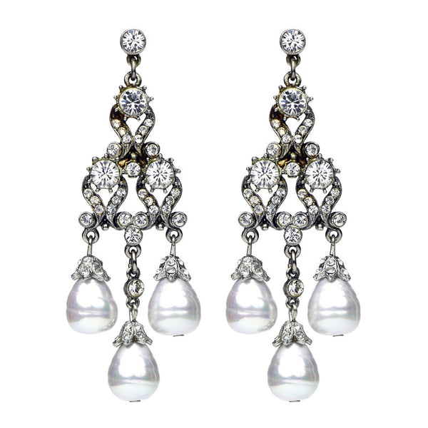Deco Crystal Pearl Drop Earrings - Ben-Amun