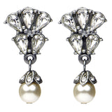 Crystal Marquise Pearl Drop Earrings - Ben-Amun