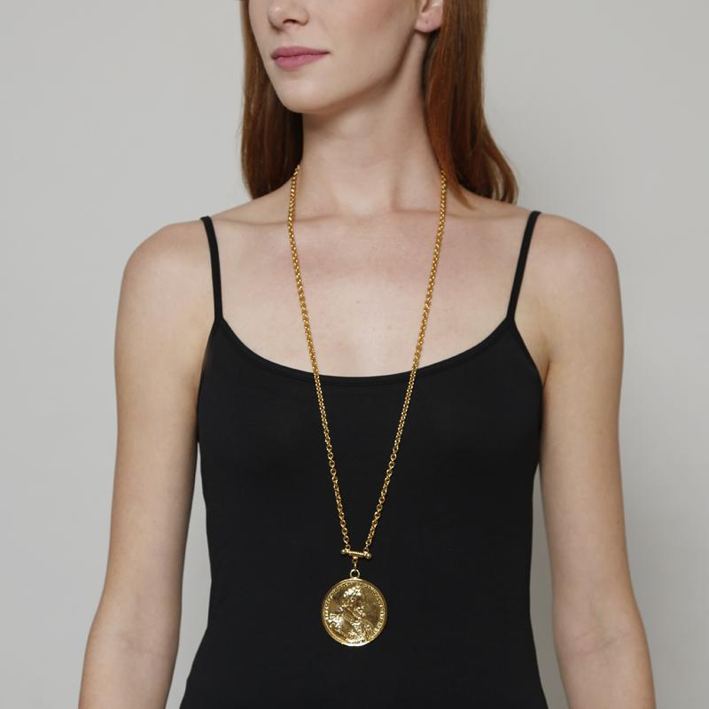 Moroccan Coin Pendant Necklace by Ben-Amun. Gold Coin Necklace. Charm Jewelry. 24K Gold-Plated.
