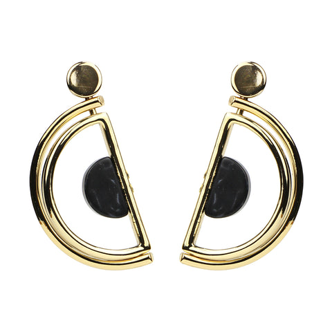 Mod Black Stone Earrings - Ben-Amun