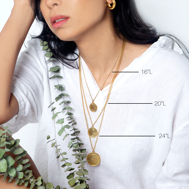The Art of Layering Large Vintage Victoria Coin Necklace | Ben-Amun Jewelry | Coin Layer Necklace | Large Coin Pendant | Gold Coin Charm | 3 Gold Layered Necklace Trend | Vintage Coin | Ancient Coin | Latest Jewelry Accessory Trend