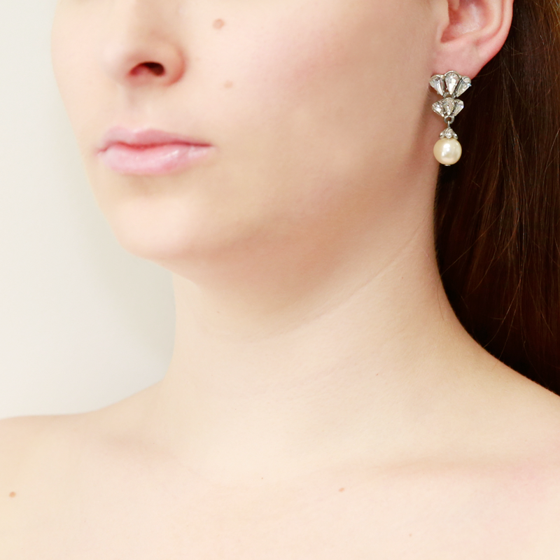 Crystal Cluster Pearl Drop Earrings - Ben-Amun
