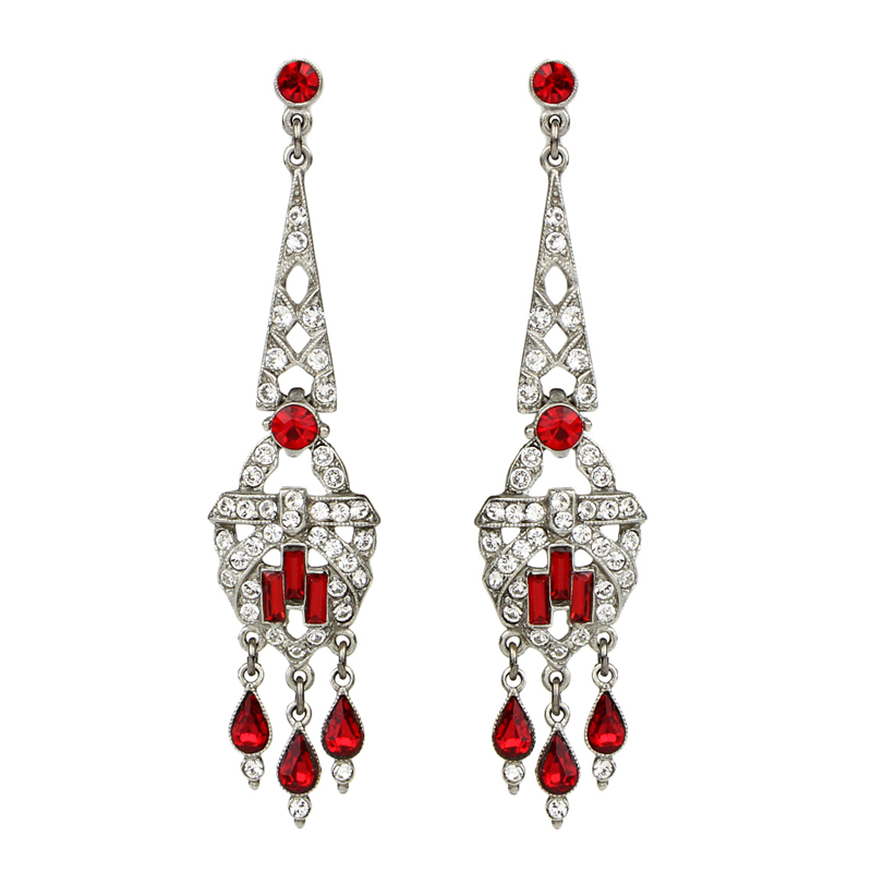 Ruby Deco Drop Post Earrings - Ben-Amun