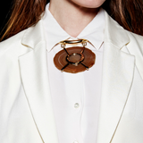 Gold Collar Necklace with Brown Geo Stone - Ben-Amun