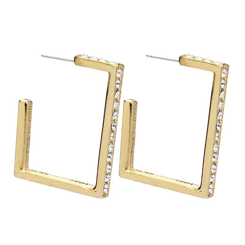 Classic Gold Crystal Rectangular Post Earrings - Ben-Amun