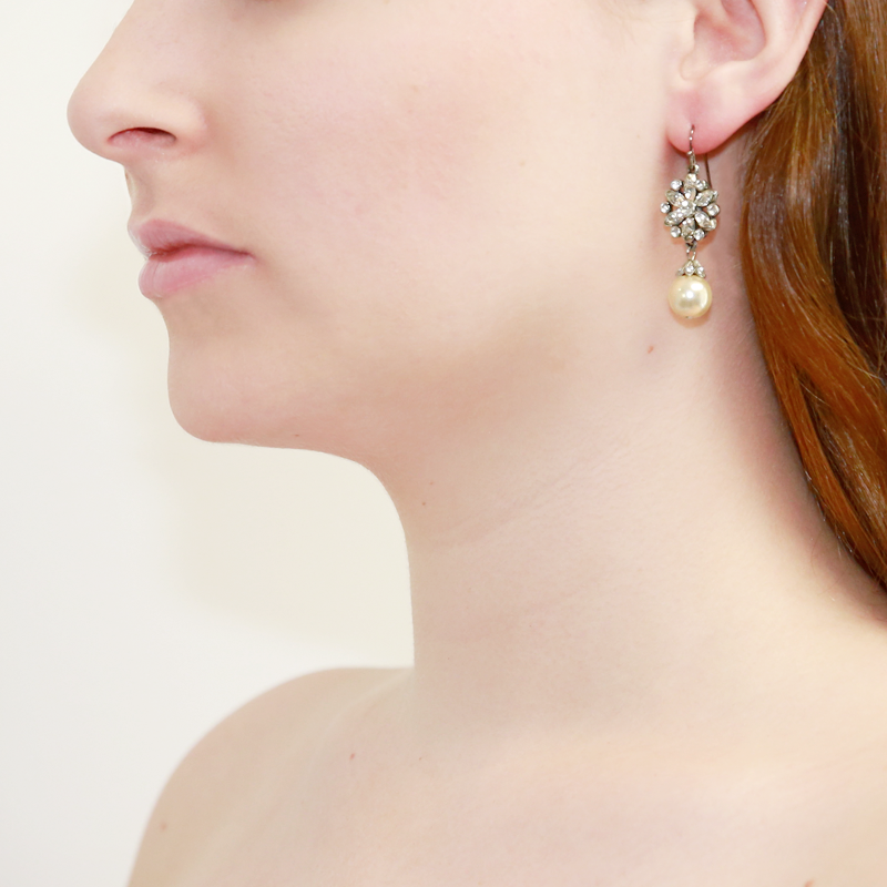 Crystal with Pearl Drop Fish Hook Earrings - Ben-Amun