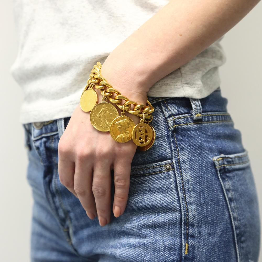 Moroccan Coin Bracelet by Ben-Amun. Boho Gold Jewelry for Wedding Bridal. 24K Gold Plated. Made in New York.