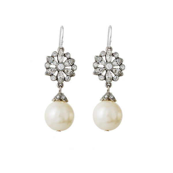 Small Crystal Earrings with Pearl Drop - Ben-Amun