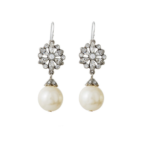 Small Crystal Earrings with Pearl Drop