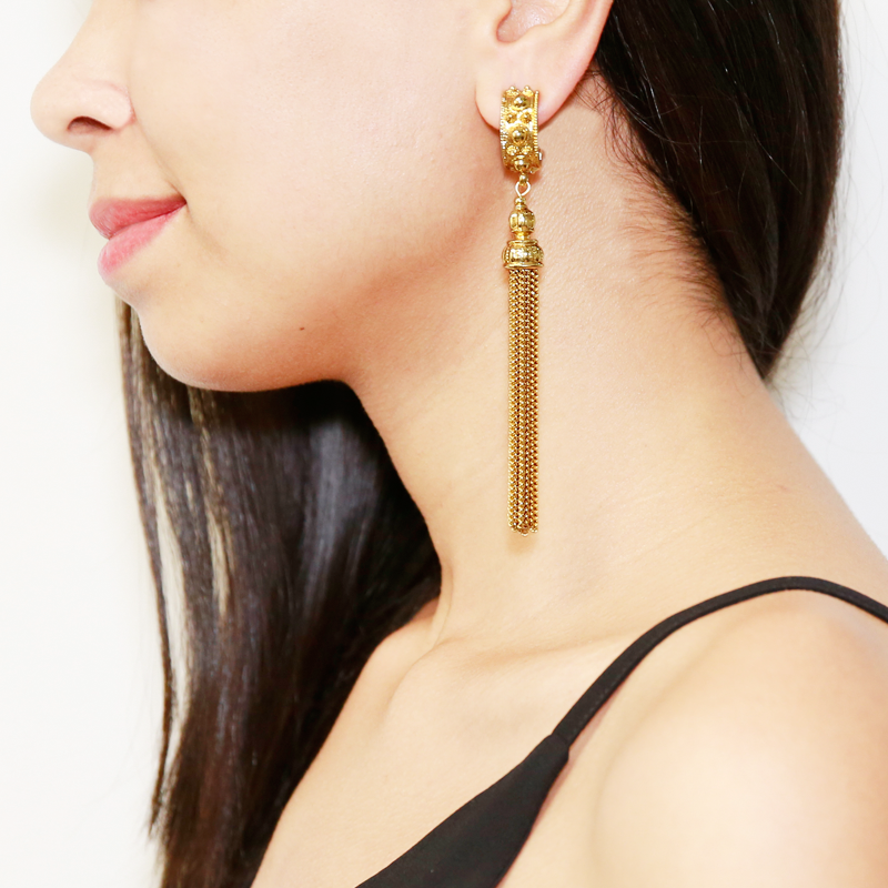Classic Gold Tassel Earrings - Ben-Amun
