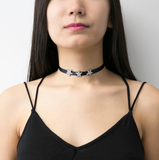 Rock Star Crystal Navy Satin Ribbon Choker Necklace - Ben-Amun